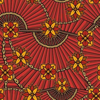 花と扇子と中国の伝統的なシームレスパターン