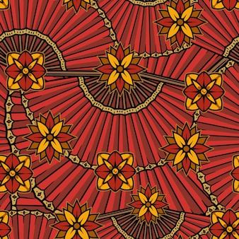 Chinese traditional seamless pattern with flowers and folding fans