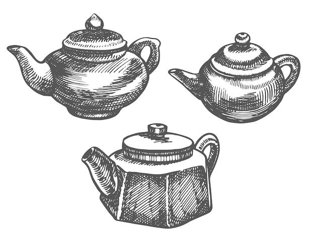 中国の伝統的なティーポッドグラフィック手描きイラストベクトル