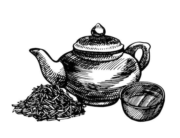 Китайский традиционный чайник графический handdrawn вектор иллюстрации