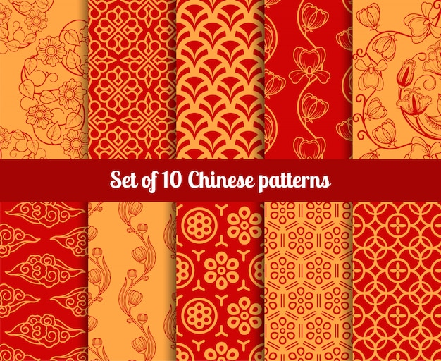 Chinese vector seamless patterns
