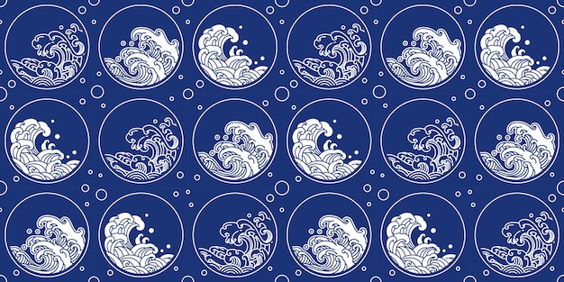 Chinese wave pattern oriental style round shape
