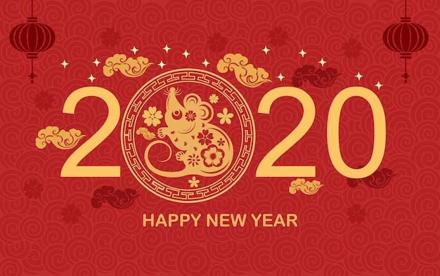 Chinese wind new year 2020 rat year