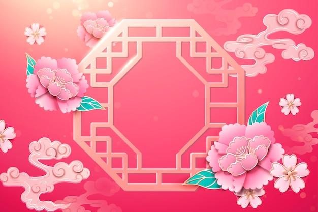 Китайское окно и украшение из цветов пиона на фоне фуксии