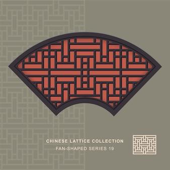 Китайская оконная ажурная веерообразная рамка из прямоугольного цветка