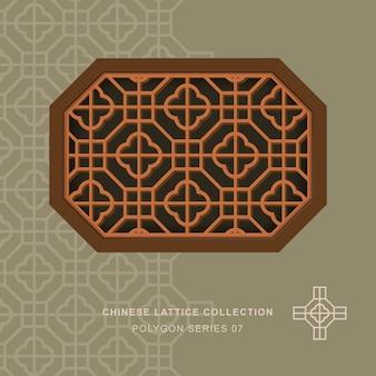 Китайская оконная ажурная решетка многоугольная рамка крестового квадрата