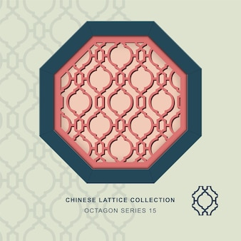 Chinese window tracery octagon frame of diamond round