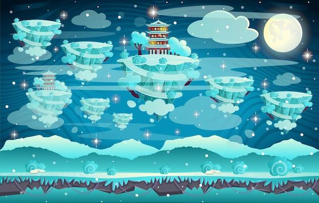 Китайская зимняя пагода на горе. карикатура иллюстрации бесшовные фон для игр.