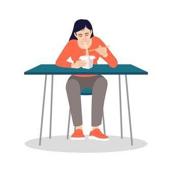 箸で麺を食べる中国人女性セミフラットrgb色ベクトルイラスト。自宅での簡単な昼食。白い背景の上のアジアのファーストフード孤立した漫画のキャラクターを楽しんでいる若い女性