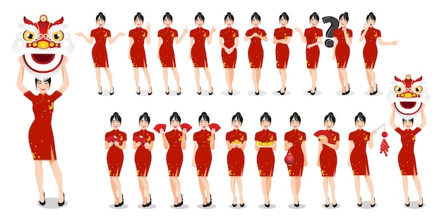 伝統的なスタイルの服を着た中国人女性は、中国の旧正月の概念図を分離し、さまざまなジェスチャーを設定します