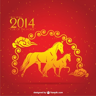 Chinese yellow horses in red background