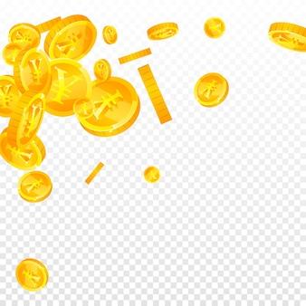 人民元の硬貨が下落。愛らしい散らばったcnyコイン。中国のお金。消えない大当たり、富または成功の概念。ベクトルイラスト。