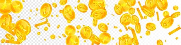 人民元の硬貨が下落。大胆に散らばったcnyコイン。中国のお金。雄大な大当たり、富または成功の概念。ベクトルイラスト。