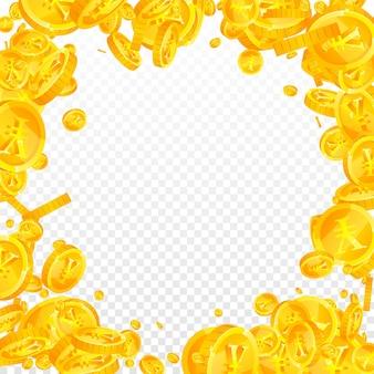 人民元の硬貨が下落。幻想的な散らばったcnyコイン。中国のお金。強力な大当たり、富または成功の概念。ベクトルイラスト。