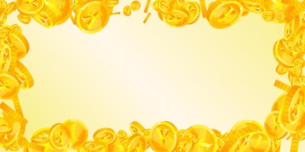 떨어지는 중국 위안화. 지워지지 않는 흩어진 cny 동전. 중국 돈. 뛰어난 잭팟, 부 또는 성공 개념. 벡터 일러스트 레이 션.