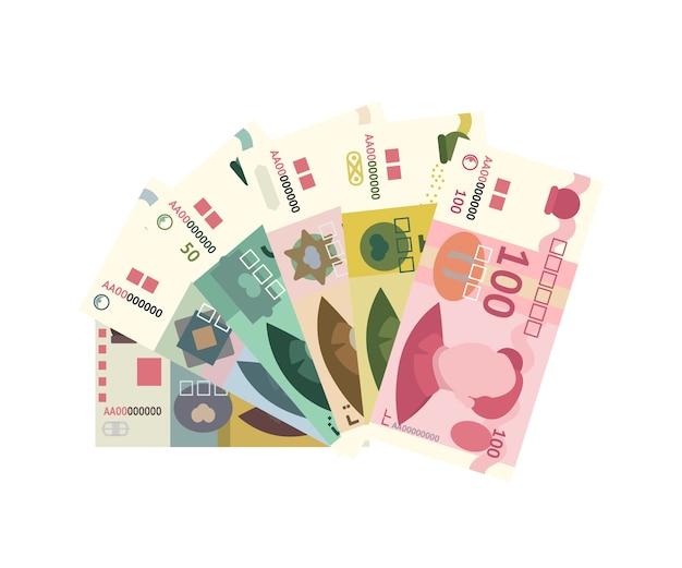 白で隔離される中国人民元紙幣スタック