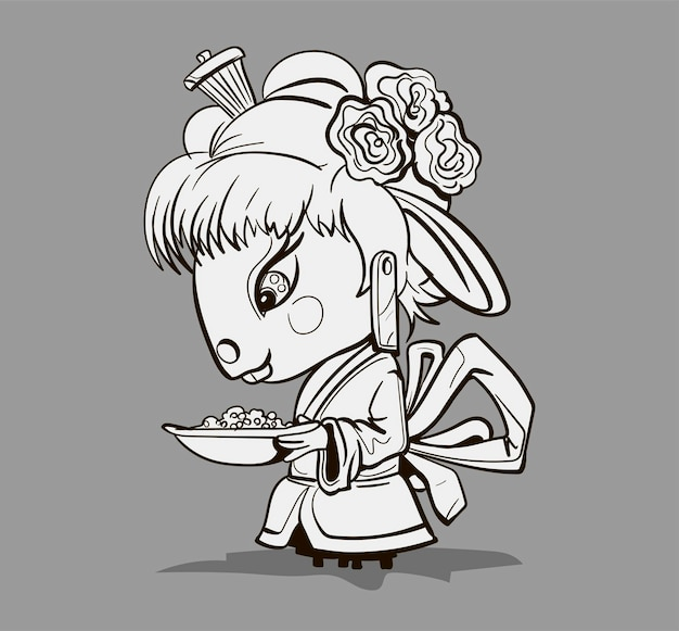 Chinese zodiac animal cartoon. coloring page with geisha mouse hand drawn character. vector design for your greetings card, flyers, invitation, posters, brochure, banners, calendar.
