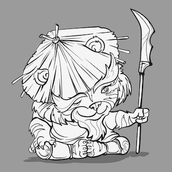 중국어 조디악 동물 만화. 호랑이 손으로 그려진 문자로 색칠 페이지.