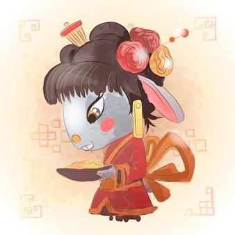 中国の干支の動物の漫画。ウサギの手描きのキャラクター。あなたのグリーティングカード、チラシ、招待状、ポスター、パンフレット、バナー、カレンダーのベクターデザイン。
