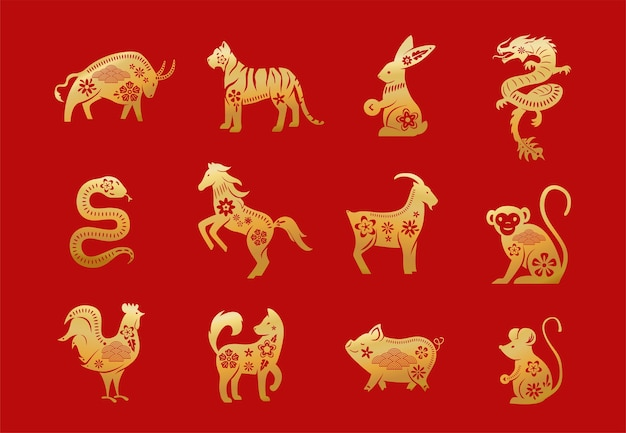 Chinese zodiac animals. twelve asian new year golden characters set isolated