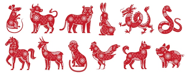 Китайские новогодние знаки зодиака. традиционный китайский гороскоп животных, красный силуэт зодиака