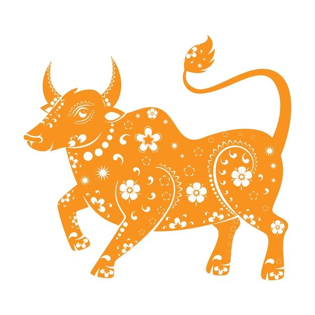白い背景の上の中国の干支の牛のサイン