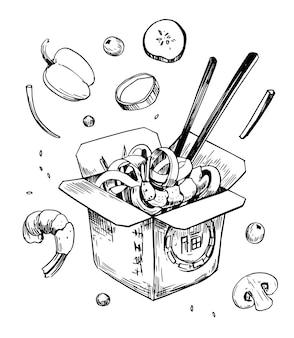 상자에 중국 국수 손으로 그린 그림 벡터