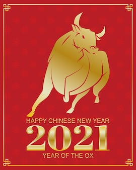 Chinesse new year golden ox and number