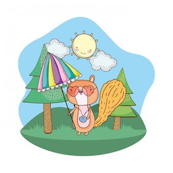 Chipmunk with umbrella and sunglasses in the field