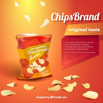 Chips advetisement in realistic style