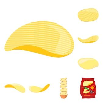 Чипсы картофеля мультяшный набор элементов. изолированные иллюстрации хрустящие чипсы. элементы набор жареной закуски картофеля.