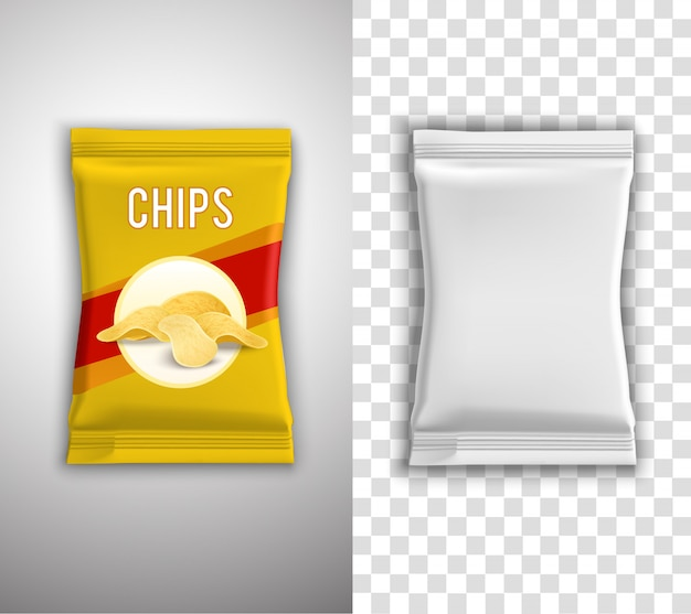 칩 포장 디자인 무료 벡터