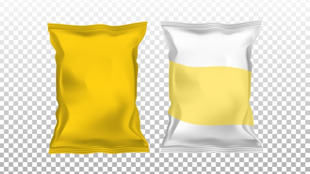 Чипсы картофельные пустые пакеты из фольги, пакеты, набор векторных. чипсы закуски различной глянцевой упаковки. вкусный обед нездоровой пищи жареный, шаблон порции продукта питания гастрономии реалистичные 3d иллюстрации