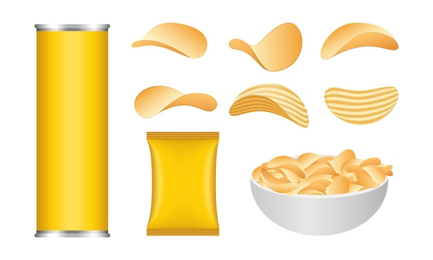 Chips potato icons set, realistic style