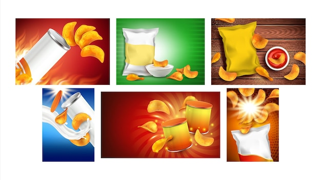 Chips snack creative promo posters set vector. potato and onion chips with paprika taste, blank bags packages, mayonnaise and ketchup sauces on advertise banners. style concept template illustrations