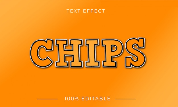 Chips text effect with gradient color
