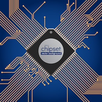 Chipset circuit background, blue and gold colors
