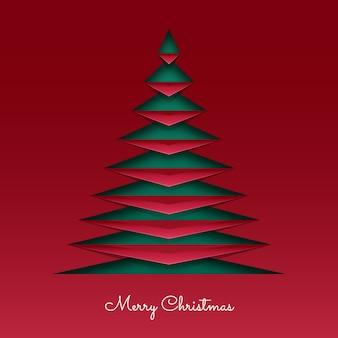 Рождественская открытка в бумажном стиле