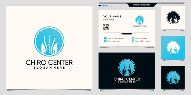Chiropractic center logo with negative space circle concept and business card design premium vector
