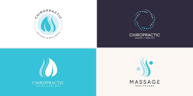 Chiropractic logo collection with creative element concept premium vector