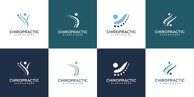 Chiropractic logo collection with modern style premium vector