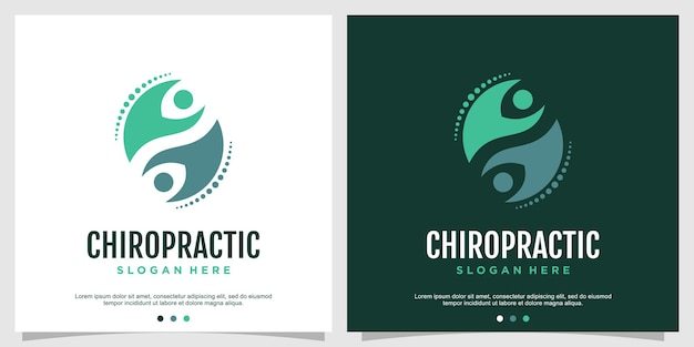 Chiropractic logo concept for health and care premium vector part 2