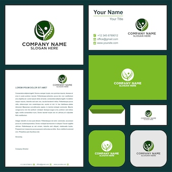 Chiropractic logo with modern concept premium vector premium vector  and business card