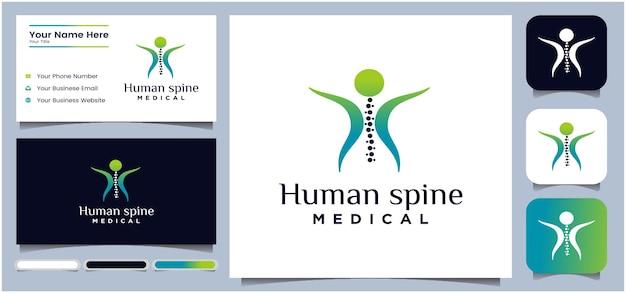 カイロプラクティックスピンロゴ医療健康スピン療法ロゴ形状シンボルと人間