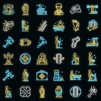 Набор иконок мануального терапевта. наброски набор хиропрактик векторных иконок неонового цвета на черном
