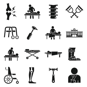 Chiropractor icons set