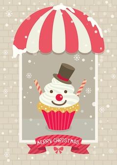 Chirstmas cupcake cafe snowman