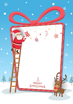 Chirstmas festival illustration with santa claus and reindeer in present box frame on snowy background.