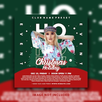 Chirstmas holiday social media post instagram banner template design