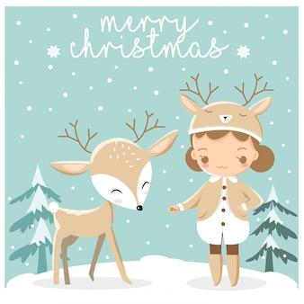 かわいい少女とchirstmasグリーティングカードの鹿